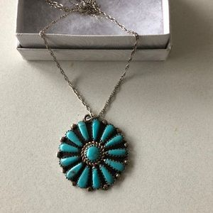Genuine turquoise & sterling necklace